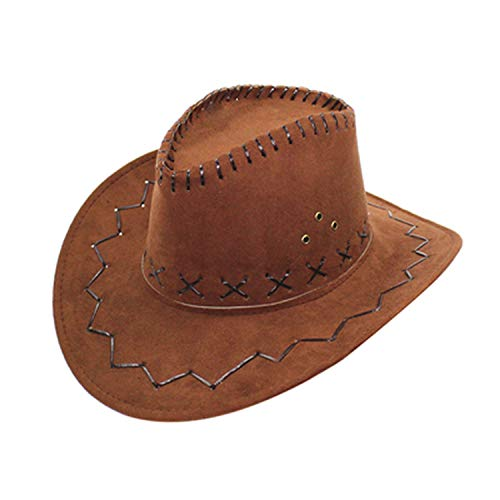 MingDe Sports Men Women Fashion Tourist Caps for Kid Boys Girls Party Cowgirl Cowboy Hats Coffee]()