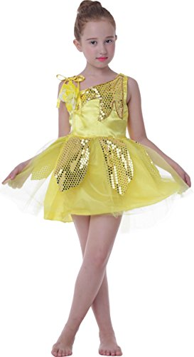 Girl's Kid School Shows Lotus Dance Costumes Dress Carnival Halloween (yellow, 4T/4/5)