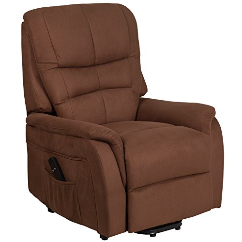 Flash Furniture HERCULES Series Brown Microfiber Remote Powered Lift Recliner ()