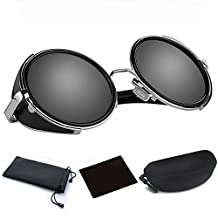 Mens Womens Steampunk Sunglasses 50s Round Glasses Cyber Goggles Vintage Retro Style Blinder Silver Metal Frame & Grey Lens w/ Black Hard Case