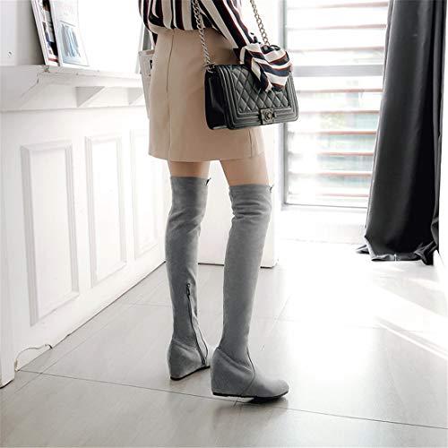 Sandalette Moda Tacon hasta y Europeos Botas de de Rodilla Americanos DEDE Botas la gray Llevar 8p8wYrq