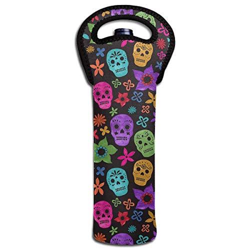 Wine Carrier Halloween Wallpaper Skull 1 Bottle Neoprene Wine/Water Insulated Tote Bag for Picnic Home Airplane ()