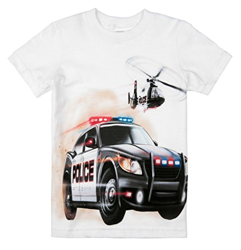 Shirts That Go Little Boys' Police Car and Helicopter T-Shirt 2 White ()