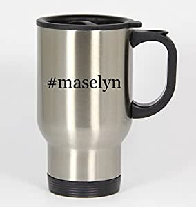 #maselyn - Funny Hashtag 14oz Silver Travel Mug