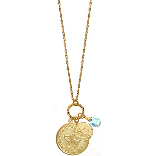 GIRLPROPS Mystical Sun Sign Horoscope Zodiac Pendants Necklace with Crystal, USA, Sagittarius/December Birthstone in Gold Tone with Matte Finish (Matte Zodiac Sagittarius)