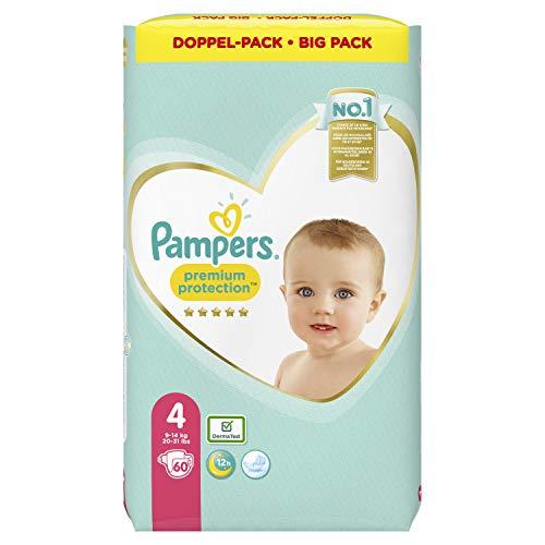 Pampers Maat 4 Premium Protection Luiers, 60 Stuks, onze Nummer 1 Luier voor Zachtheid en Bescherming van de Gevoelige…