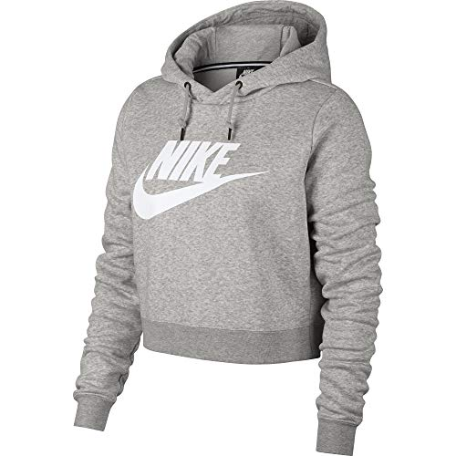 Nike Womens Rally Hoodie Crop Top Sweatshirt Grey Heather/White AQ9965-050-Size Medium ()