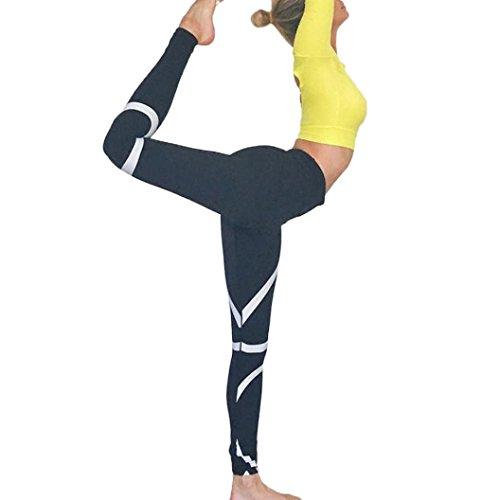 Quartly Yoga Pants, Womens Splice Workout Fitness Sports Gym Running Yoga Leggings Athletic Pants (XL, Black)