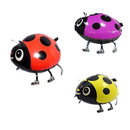 Miyaya? Assorted Ladybug Insect Walking Animal Balloon Pet Air Walker For Children Kids Fun Party,Set of 3 (red, yellow, pink) by Miyaya