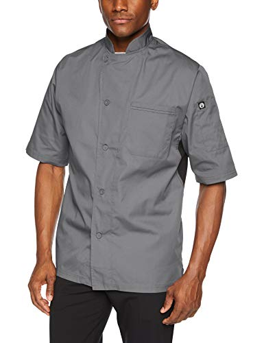 Chef Works VSSSGBCL Chefs-Jackets, Large, Dark Gray W/Black Contrast