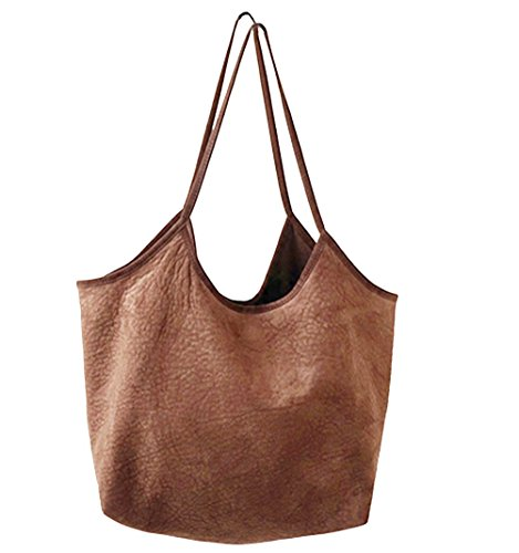 Womens Purse Soft Ultra Hobo light Bags Brown Suede Shoulder Handbag Tote CqxCnw6BU