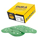 """Dura-Gold - Premium - 2000 Grit - 5"""" Green Film Sanding Discs - 8-Hole Dustless Hook and Loop for DA Sander - Box of 50 Finishing Sandpaper Discs for Woodworking or Automotive"""