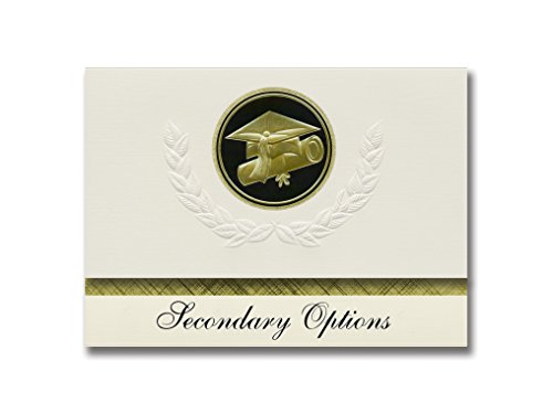 Signature Announcements Secondary Options (Olympia, WA) Graduation Announcements, Presidential style, Elite package of 25 Cap & Diploma Seal Black & Gold