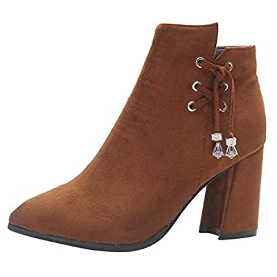 Women Classic Boots Zipper Suede Ankle Shoes High Heeled Boots by Limsea