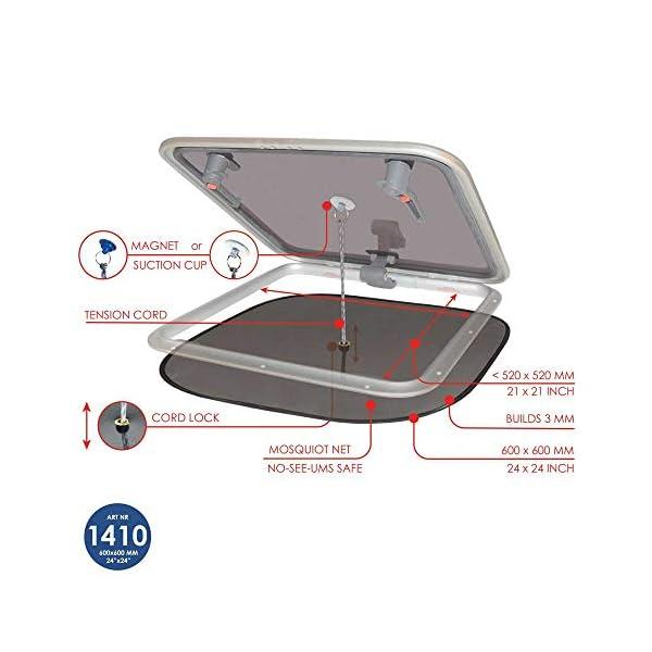 41wHmjUe1iL Waterline Design MOSKITONETZ Fliegengitter Insektenschutz für Boote – Innenmontage mit Magnet oder Saugnapf…