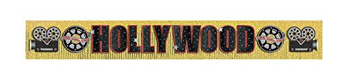 Hollywood Movie Night Party Glittered Fringe Letter Banner Decoration, Gold, Foil , 10' x 11
