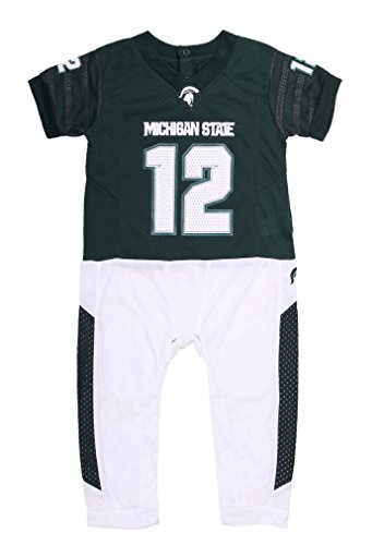 NCAA Michigan State Spartan Baby Boy Football Uiform Onesie Pajama (12-18)