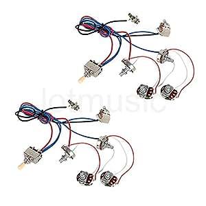 electric guitar wiring harness kit 2v 2t pot jack 3 way switch for electric guitar. Black Bedroom Furniture Sets. Home Design Ideas