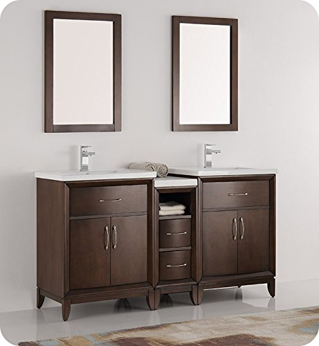 Fresca Bath FVN21-241224AC Fresca Cambridge 60″ Antique Coffee Double Sink Traditional Bathroom Vanity w/ Mirrors For Sale