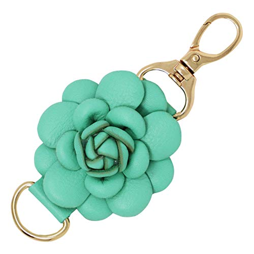 Genuine Leather Handmade Charms   PomPom Keychain   for Tassel Bags Purse Backpack (Turquoise - Rose)