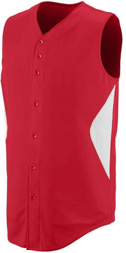 Augusta Sportswear Boys 'ノースリーブホイールHouse Baseball Jersey B00P53TOHW Large レッド/ホワイト レッド/ホワイト Large