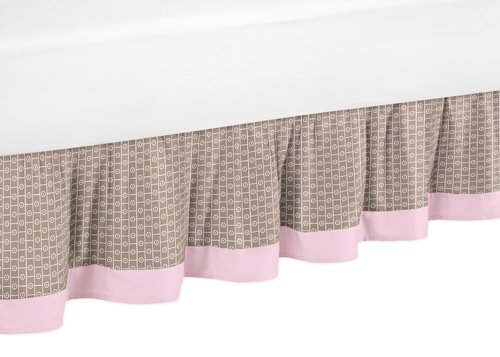 Jojo Designs Brown Bedskirt (Sweet Jojo Designs Pink and Brown Mod Elephant Queen Bed Skirt for Children's Bedding Sets)