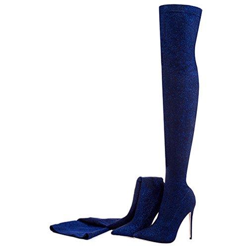 en zapatos los Sexy tacón alto de de Mujer de el ENMAYER Tacones Azul sobre botas de rodilla deslizamiento fiesta 4ZnRSSO6q