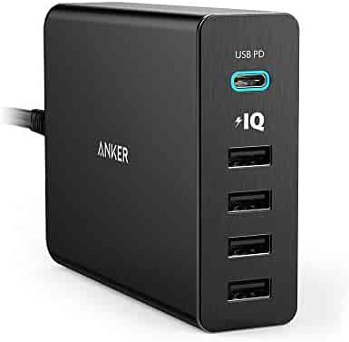 Anker USB Type-C Premium 5-Port 60W USB Wall Charger PowerPort+ 5 USB-C with Power Delivery for Apple MacBook, iPhone X / 8 / 8 Plus, Nexus 5X / 6P and PowerIQ for iPhone, iPad, Samsung & More