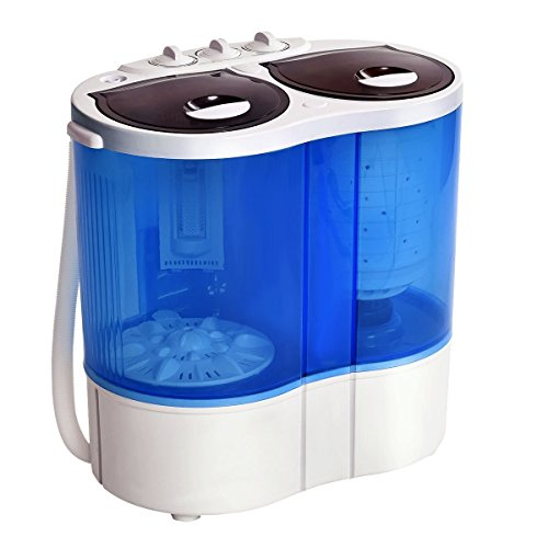Giantex Portable Mini Washing Machine Gravity Drain Compact Twin Tub 7.7lb Washer Spin Dryer Furni