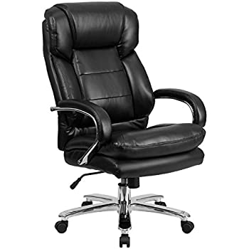 Flash Furniture HERCULES Series 24/7 Intensive Use Big & Tall 500 lb. Rated Black Leather Executive Swivel Chair with Loop Arms