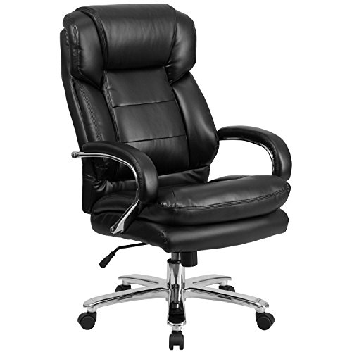 Flash Furniture HERCULES Series 24/7 Intensive Use Big & Tall 500 lb. Rated Black Leather Executive Swivel Chair with Loop Arms]()