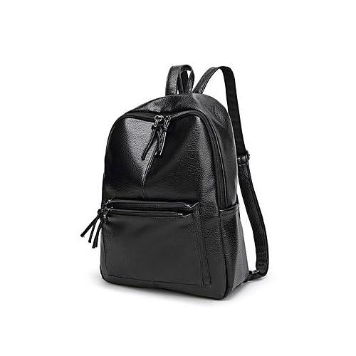 LHWBA Women Backpack PU All Seasons Casual Outdoor Bucket Tassel Zipper Black 20-30