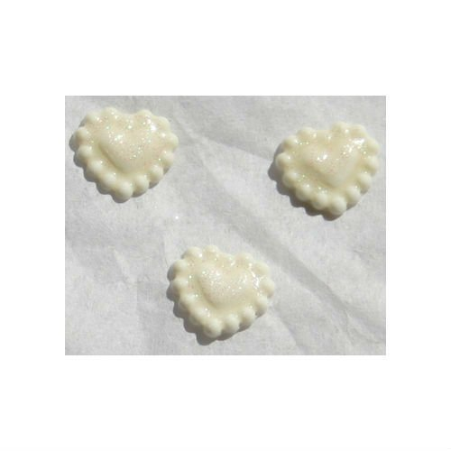 Zink Color Nail Art White Sparkling Soft Clay Heart 3Pc Cell Phone Embellishment ()