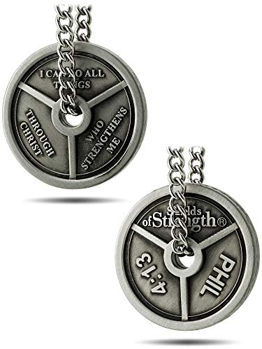 Shields of Strength Men's Antique Finish 3-Bar Weight Plate Necklace- Phil 4:13