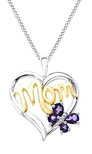 - Jewel Zone US Simulated Amethyst & White Natural Diamond MOM Butterfly Heart Pendant in Two Tone in 925 Sterling Silver