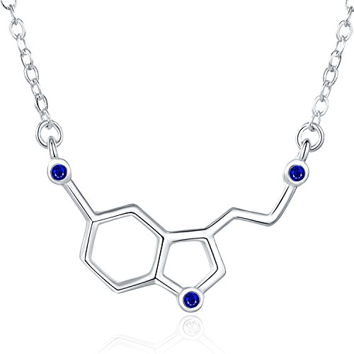 Rosa Vila Happiness Serotonin Molecule Necklace with Gems for Women, Ideal Necklaces for Teacher, Professor, Chemistry Grad, and Science Jewelry Lovers (Blue)
