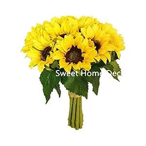 Sweet Home Deco Silk Sunflower Artificial Flower Bouquet/Flower Boutonniere Wedding Flowers (Yellow 12-Stem Bouquet)