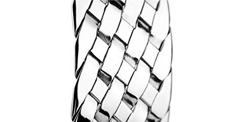 Canyon bijoux Bracelet manchette tressée en argent 925 passivé, 28.5g, Ø60mm