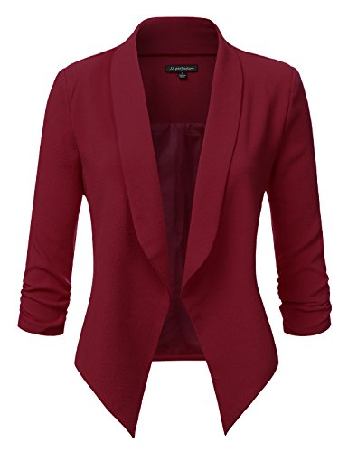 JJ Perfection Women's Texture Woven Thin Ruched Sleeve Open-Front Padded Blazer BURGUNDY M