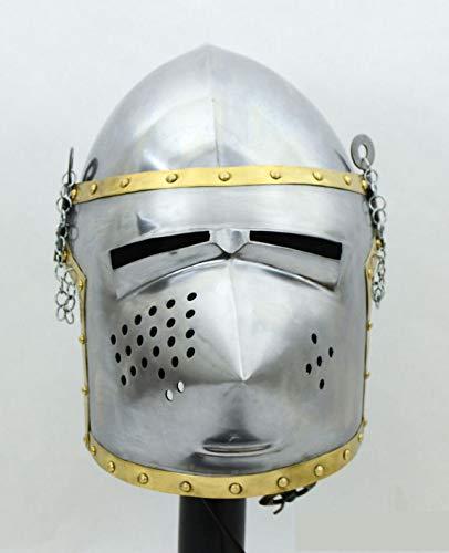 GLOBALEXPORTSHUB Steel Armor Helmet European Pig FACE Bascinet Medieval Knights for USE Halloween]()
