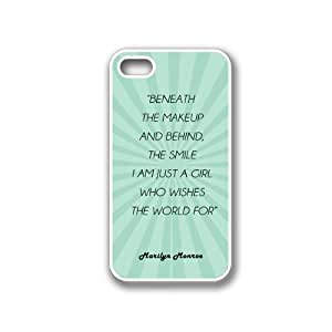 Marilyn Monroe Quote - Beneath The Makeup And Behind The Smile I Am Just A Girl Teal Rays iPhone 4 White Case - For iPhone 4/4S/4G White - Designer TPU Case Verizon AT&T Sprint