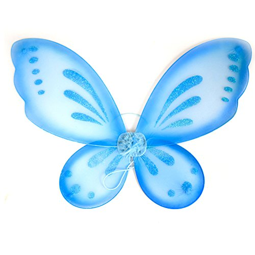 Dushi Fairy Wings Dress up Wings Butterfly Fairy Halloween Costume Angel Wings Kids(Blue) ()