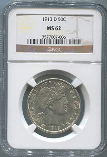 1913 D Barber Half Dollar Half Dollar MS62 NGC ()