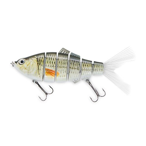 Discover Fish Fishing Lures 6 Segment Multi Jointed for Sea Bass Trout Musky Pike Snook Tarpon with Fibre Fishtail Treble Hooks Swimbait Saltwater Freshwater Topwater Trolling Hard Baits 1.5oz (Sea Bass Fishing Lures)