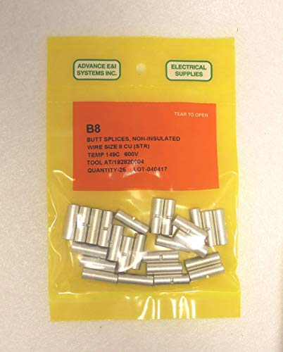 8 AWG Non-Insulated Seamless Butt splice Connectors 25 Pack