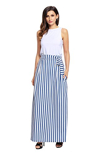 XAKALAKA Women's High Waist Vertical Striped Maxi Skirt Long Skirts with Pocket Light Blue