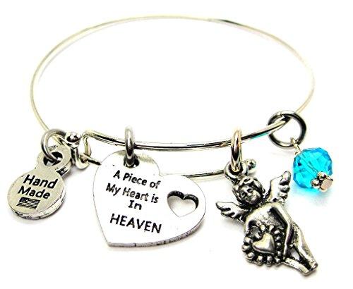 A Piece Of My Heart Is In Heaven With Angel Holding Heart Single Stacker Bracelet in Aqua (Single Heart Bracelet)