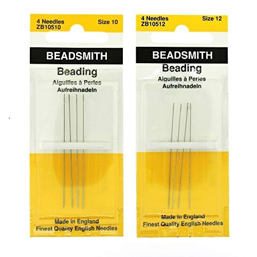 (Beadsmith English Beading Needles Size 10 & Size 12-4 Needles per Size - 8 Needles Total (in Rigid Pak TM Mailer))