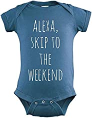 Alexa Skip To The Weekend, Sweet Baby Bodysuit, Funny Baby Clothes, Indigo or Pink