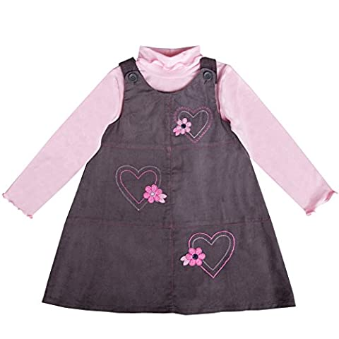 Good Lad 2/6x Girls 2 Piece Grey Heart Appliqued Jumper Set (6) - Corduroy Jumper Dress Set